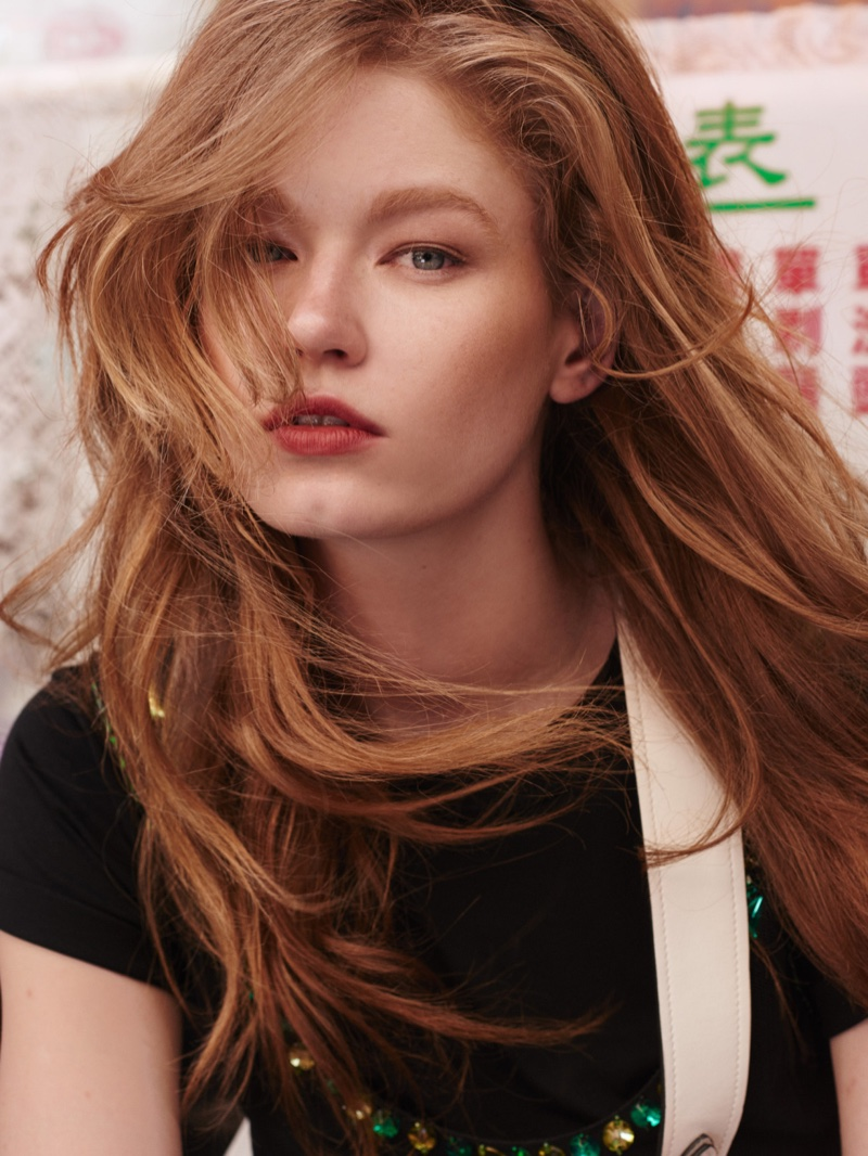 Getting her closeup, Hollie-May Saker wears her hair in tousled waves