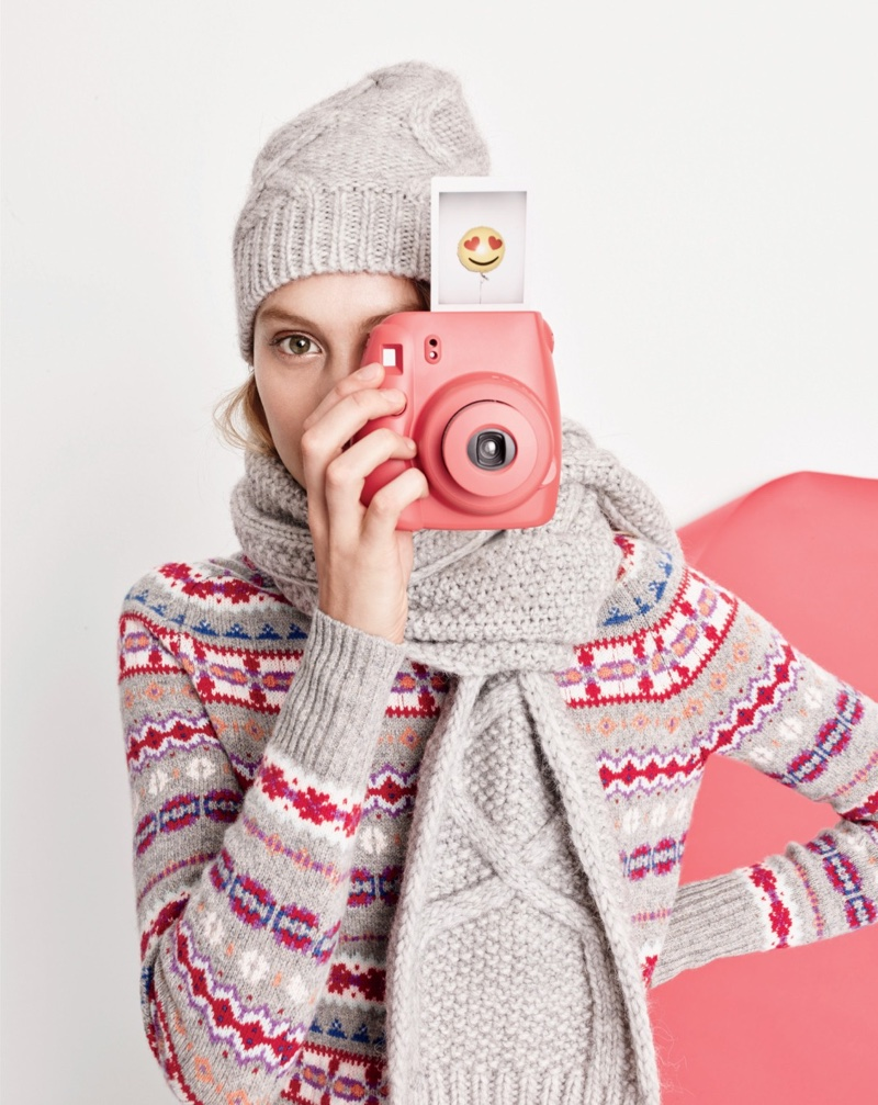 J. Crew Holly Sweater in Fair Isle, Cable Scarf and Cable Hat