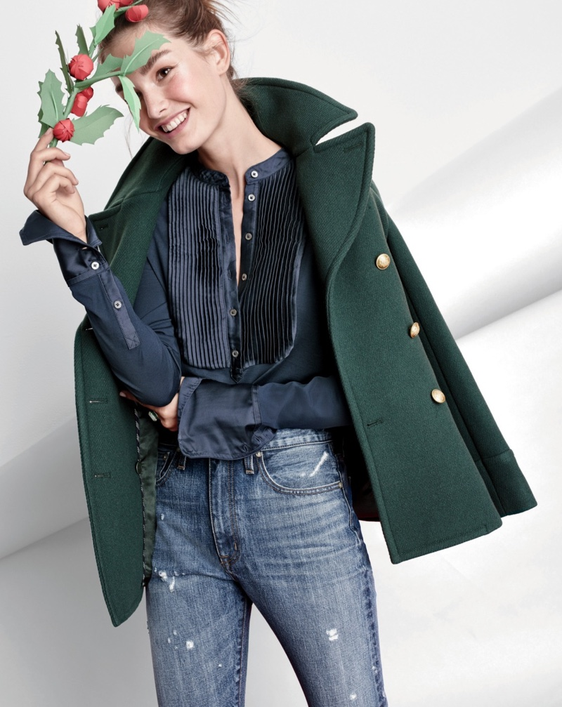 J. Crew Majesty Peacoat in Dark Forest, Tuxedo-Inspired Long Sleeve T-Shirt and Point Sur Stevie X-Rocker Jean