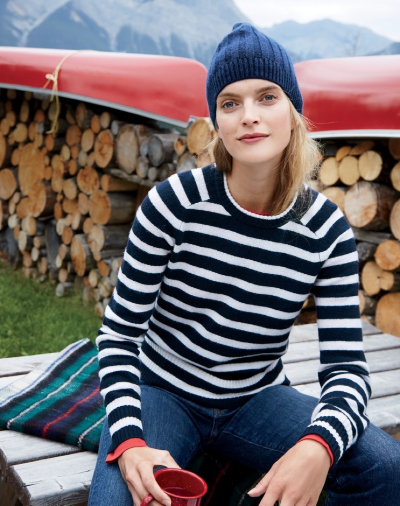 J. Crew Ribbed Cashmere Hat, Striped Holly Sweater and Vintage Crop Jean in Leopold Wash