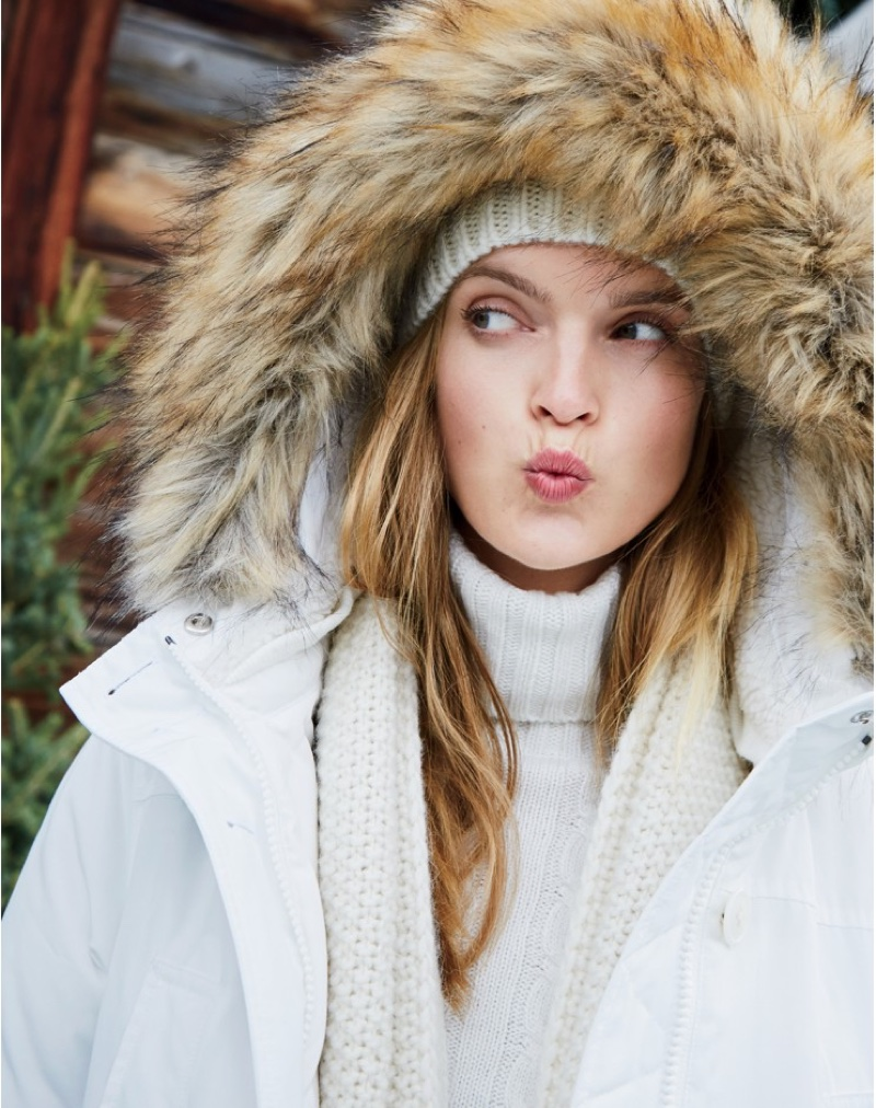 J. Crew Nordic Parka, Cambridge Cable Chunky Turtleneck Sweater and Cable Scarf in Italian Wool Blend