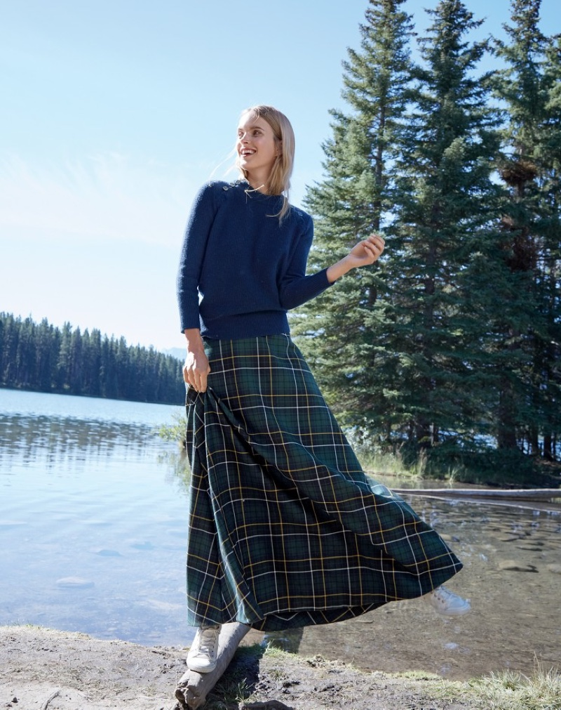J. Crew Italian Cashmere Waffle Sweater with Buttons, J. Crew Collection Maxi Skirt in Tartan and Tretorn Canvas T56 Sneakers