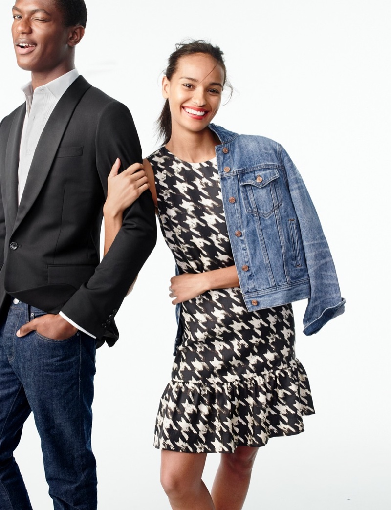 J. Crew Denim Jacket in Tyler Wash and Flounce Dress in Wolfstooth