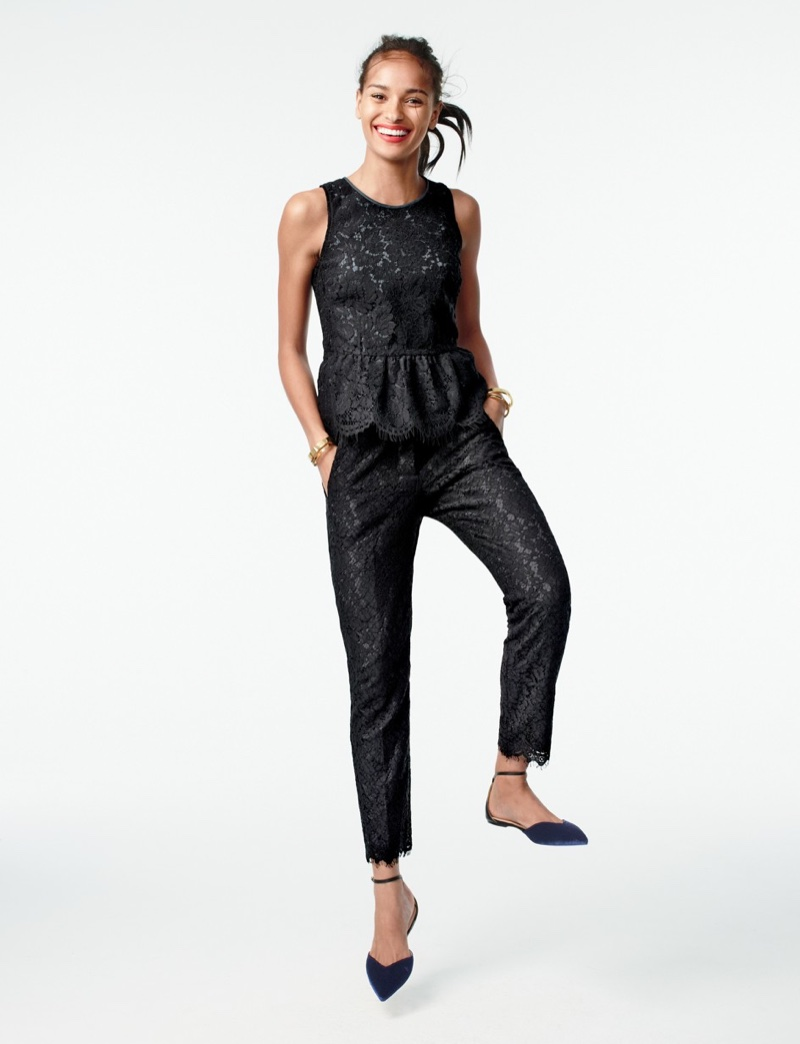 J. Crew Lace Peplum Top, Lace Pant and Sadie Ankle-Strap Flats in Velvet