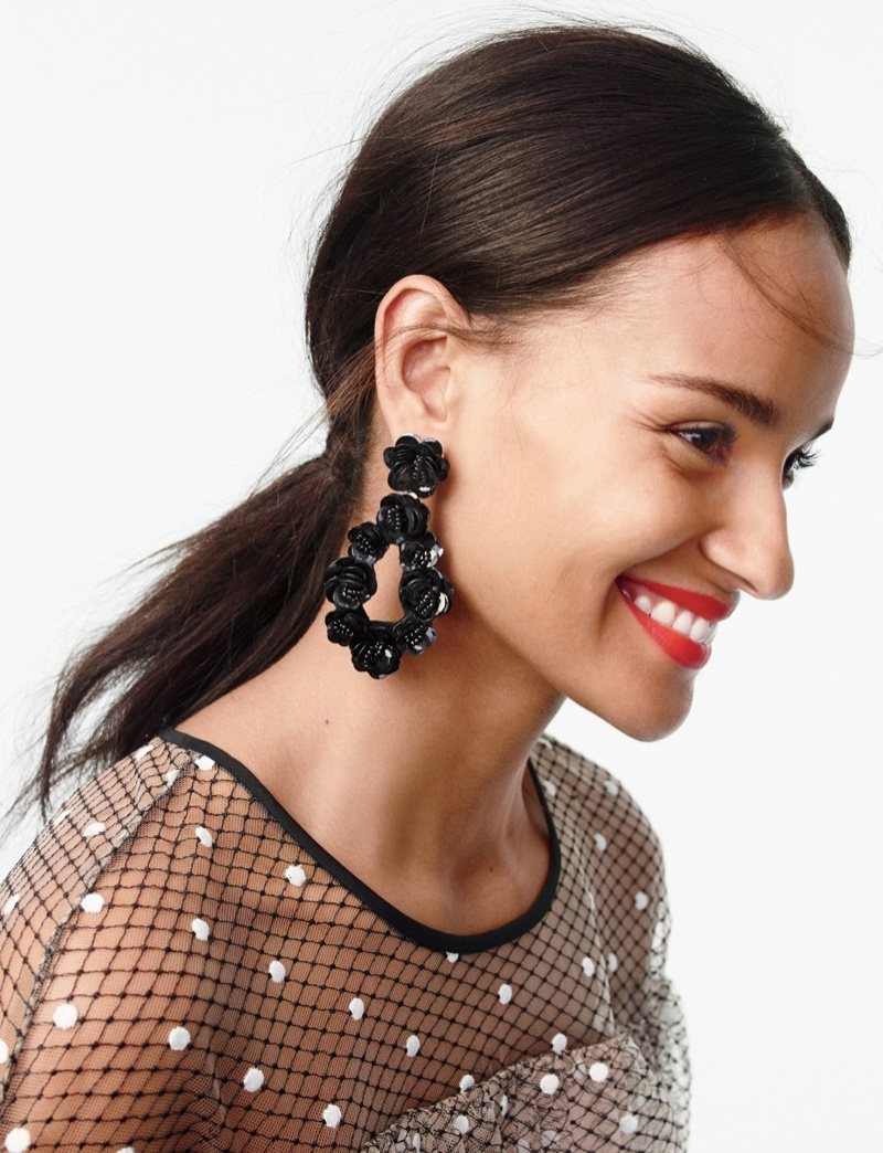 J. Crew Leather-Backed Sequin Petal Earrings and Collection Edie Top in Swiss Tulle
