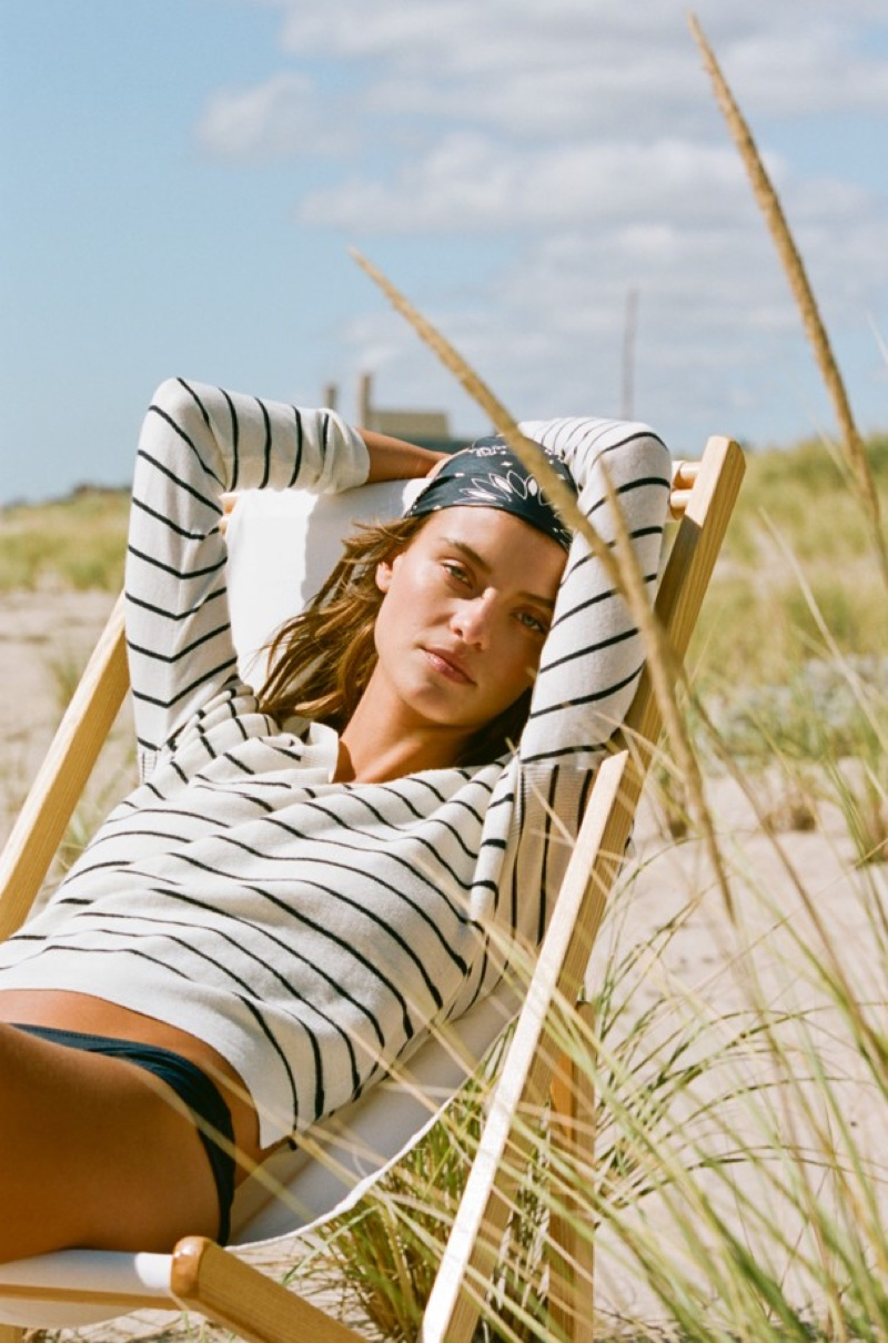 J. Crew Striped V-Neck Sweater in Cotton-Merino Wool and Bikini Bottom in Italian Matte