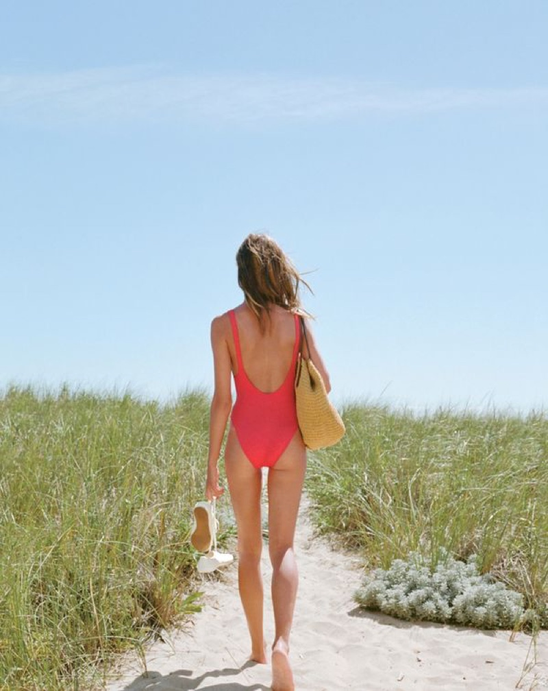J. Crew Plunging Scoopback One-Piece Swimsuit in Italian Matte, Tretorn Canvas t56 Sneakers and Straw Market Tote