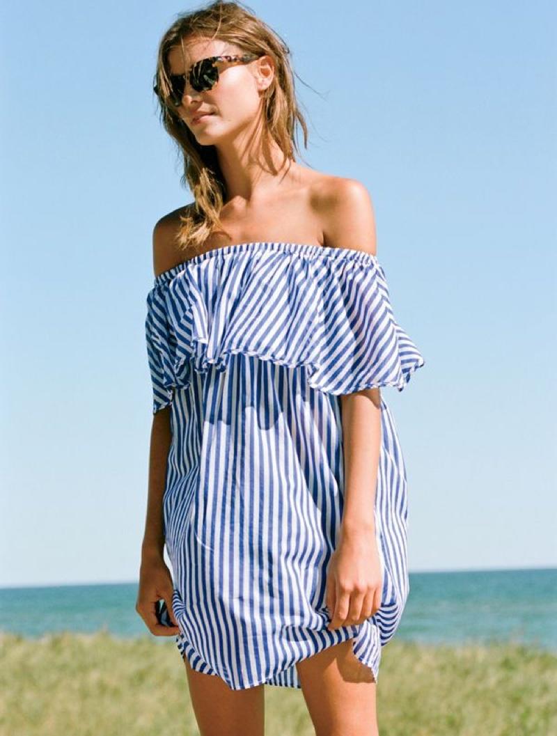 J. Crew Off-the-Shoulder Bold Striped Dress and Sam Sunglasses