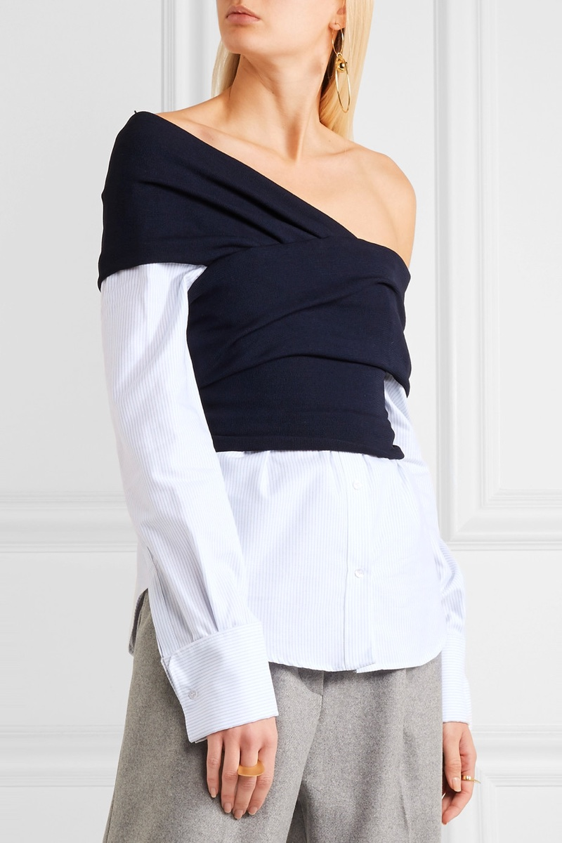 Jacquemus One Shoulder Striped Cotton Poplin Ribbed Knit Top