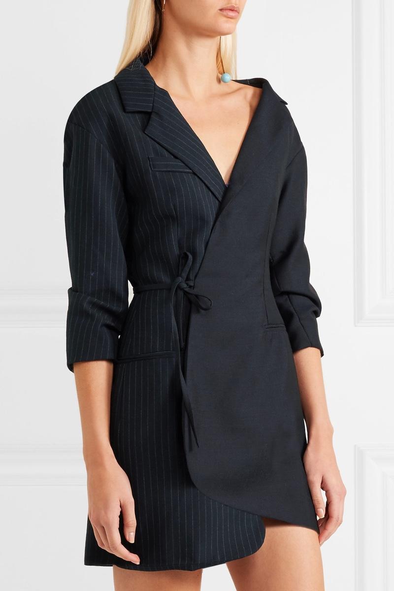 Jacquemus Wrap Effect Pinstriped Wool Pique Mini Dress