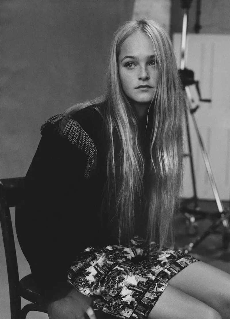 Photographed in black and white, Jean Campbell wears bohemian inspired look from Burberry