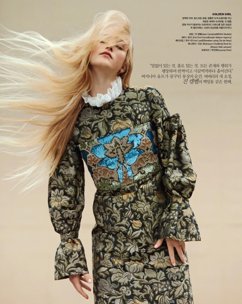 Model Jean Campbell poses in Burberry for the fashion editorial