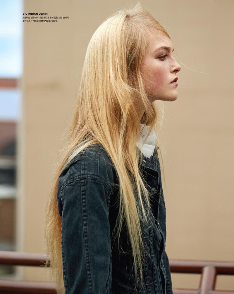Jean Campbell wears denim jacket from Burberry
