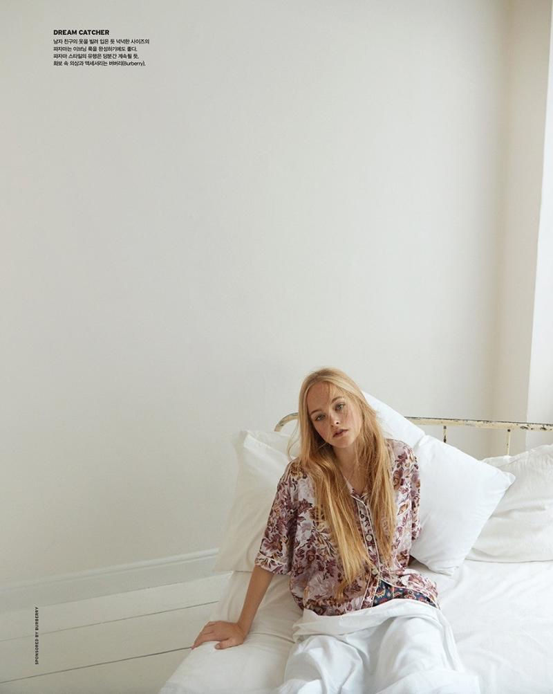 Lounging in bed, Jean Campbell poses in Burberry pajama top