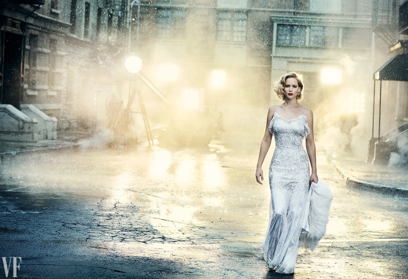 Actress Jennifer Lawrence dazzles in Dior gown with white stole from Francesco Scognamiglio