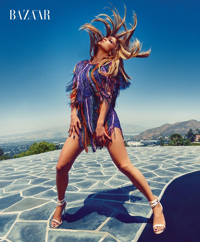 Embracing fringe, Jennifer Lopez wears Missoni dress with Giuseppe Zanotti for Jennifer Lopez shoes