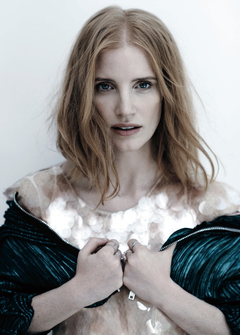 Getting her closeup, Jessica Chastain wears her red tresses in tousled waves
