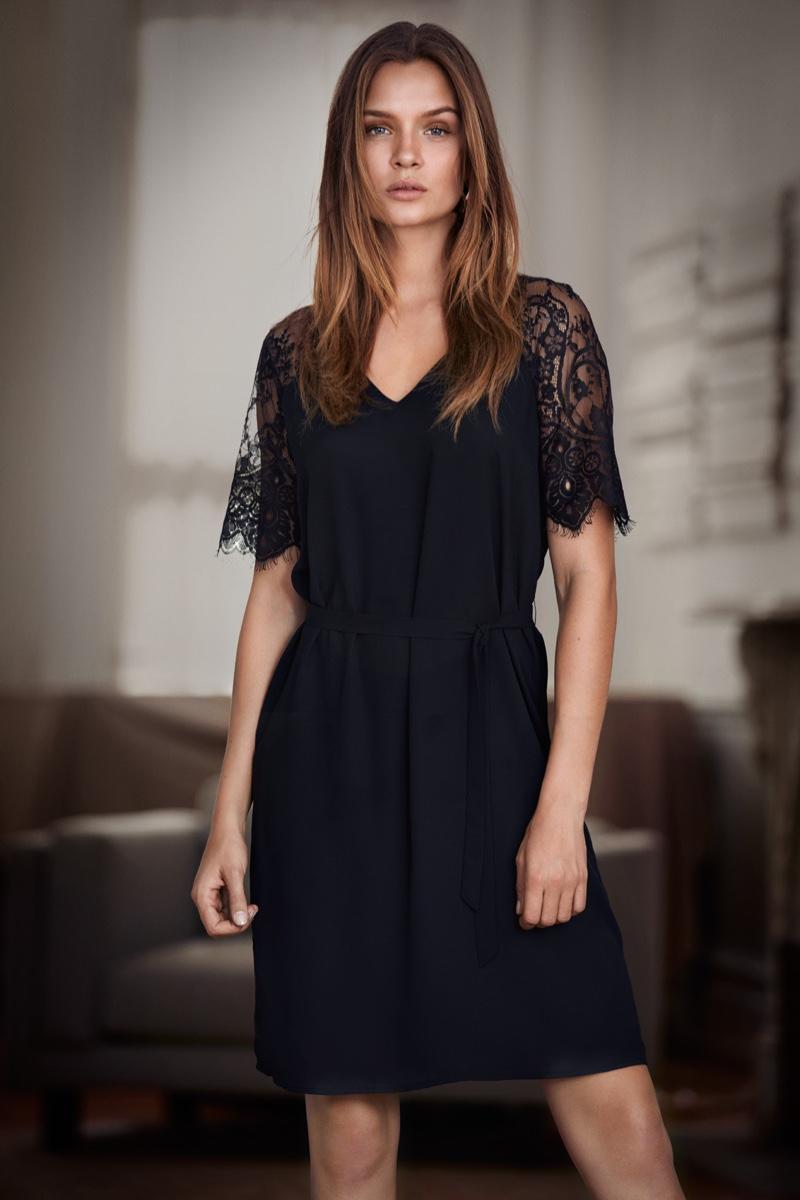 Embracing lace, Josephine Skriver wears Vero Moda dress