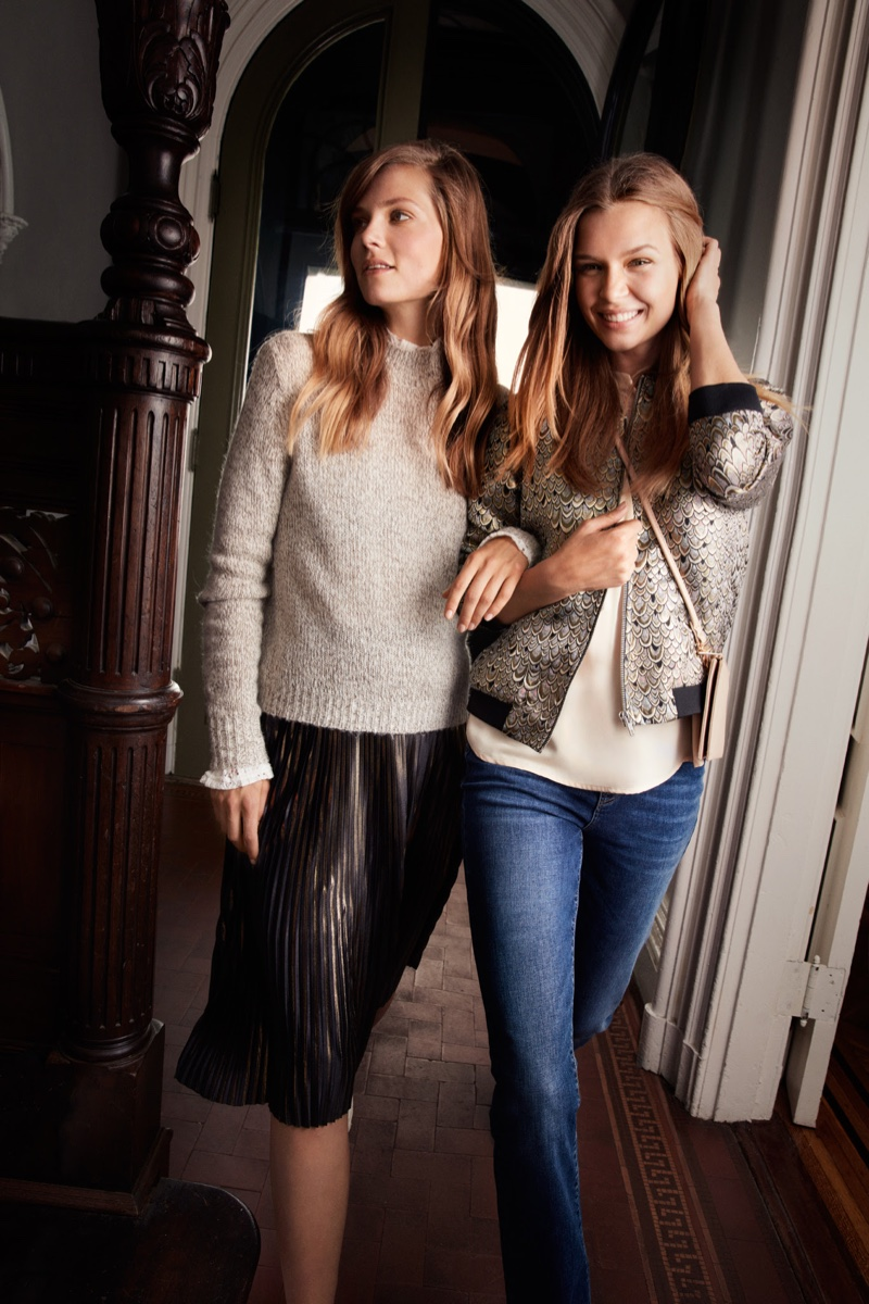 Models Caroline Brasch Nielsen and Josephine Skriver pose in casual styles for Vero Moda