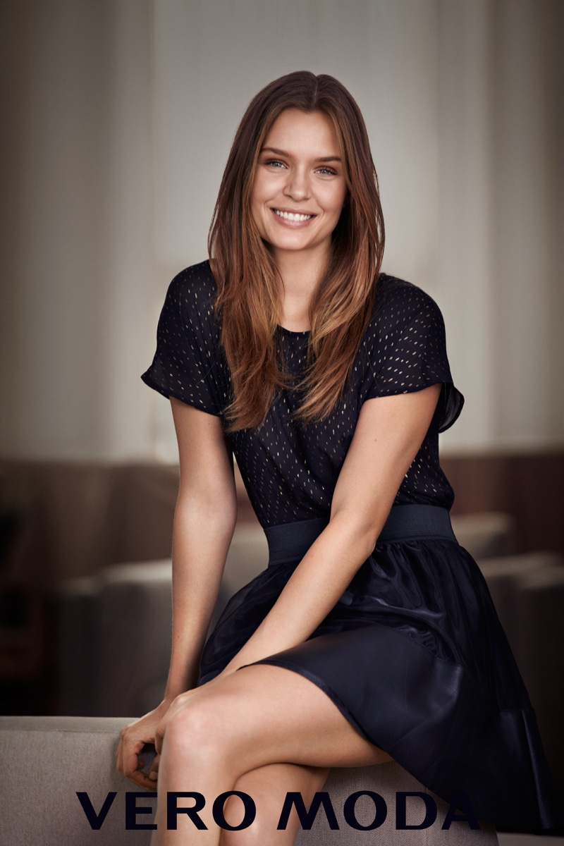 Josephine Skriver wears embellished top and navy miniskirt