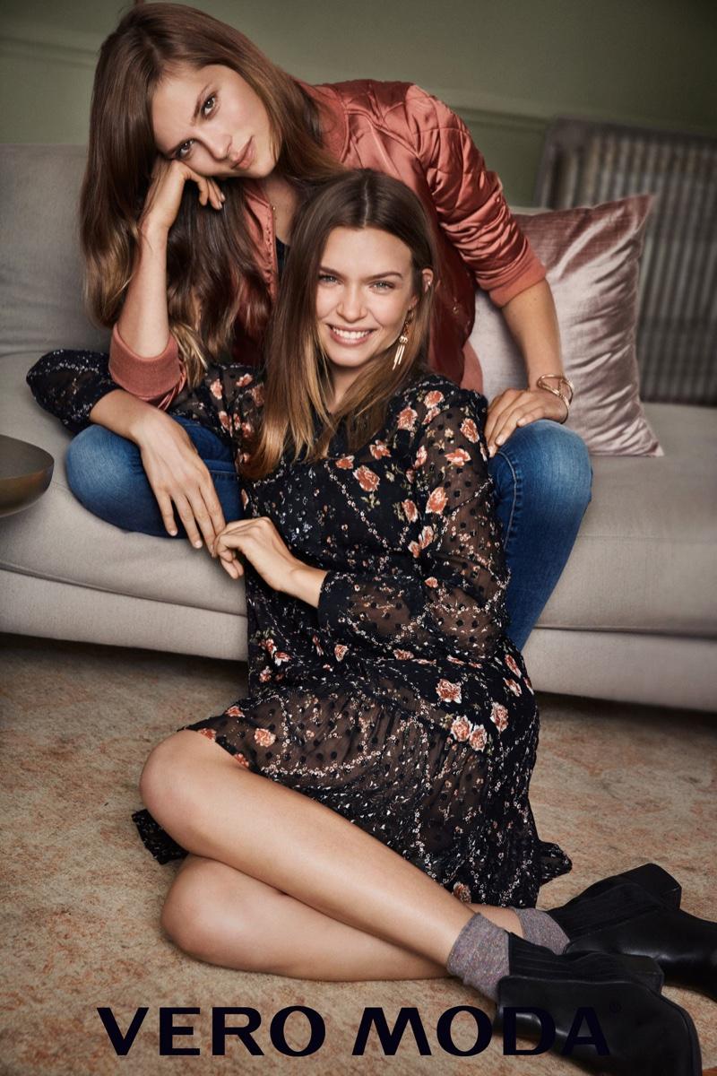 Caroline Brasch Nielsen and Josephine Skriver appear in Vero Moda's winter 2016 campaign