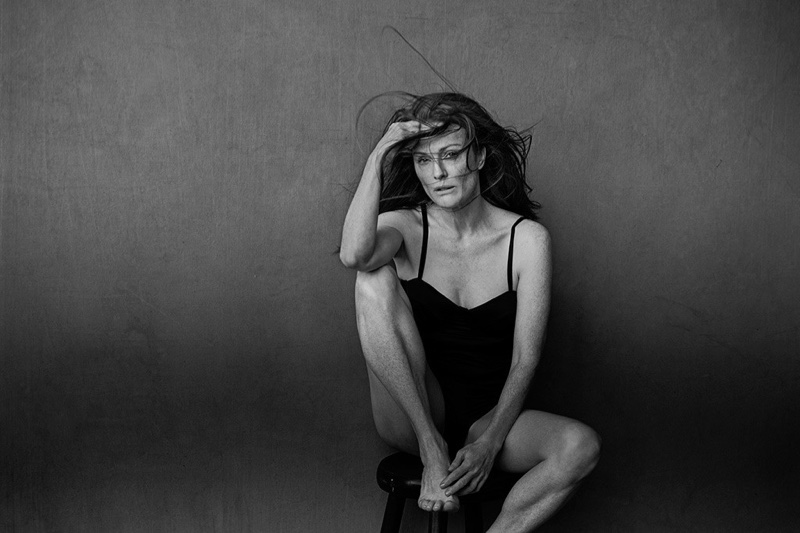 Julianne Moore poses unretouched for the 2017  Pirelli calendar