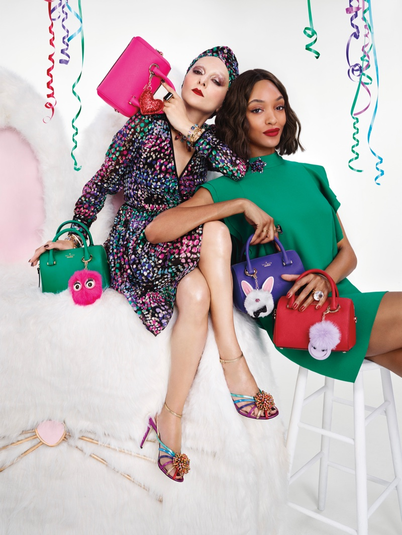 Catherine Baba and Jourdan Dunn appear in Kate Spade's Holiday 2016 campaign
