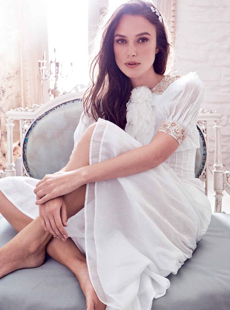 Keira Knightley wears white dress from Chanel