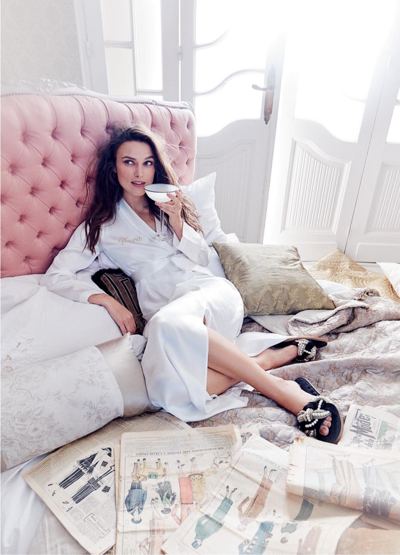 Lounging in robe, Keira Knightley takes it easy