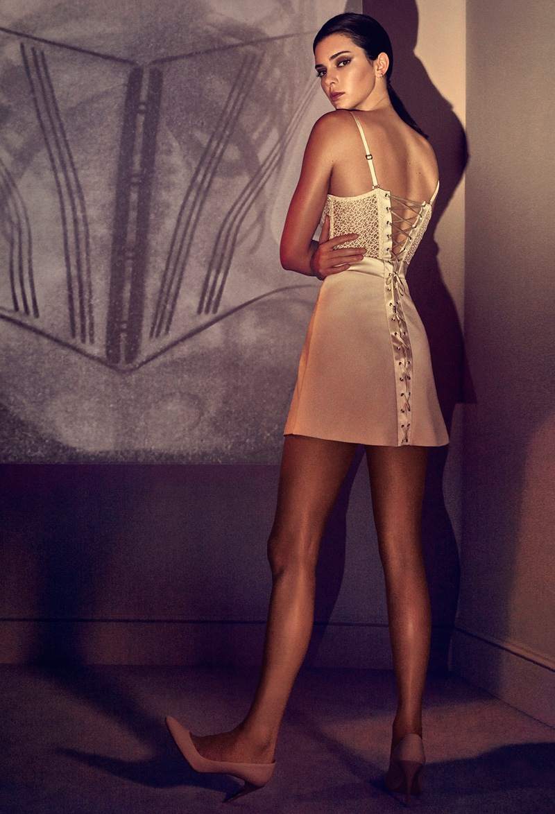 Model Kendall Jenner poses in La Perla macramè slip dress