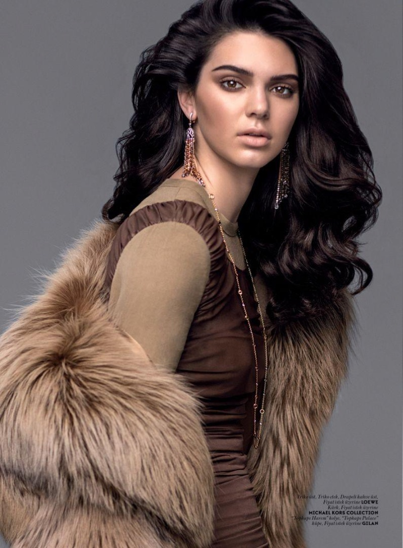 Kendall Jenner layers up in fur and knits for the fashion editorial
