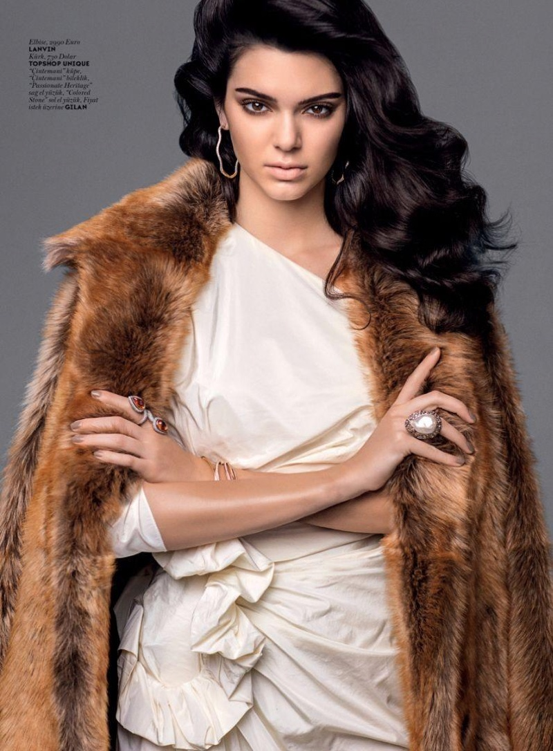 Looking luxe, Kendall Jenner wears Lanvin dress with Topshop Unique faux fur jacket
