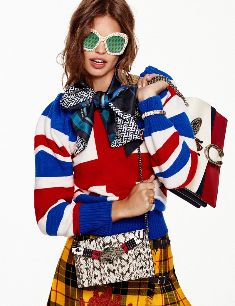 Feeling groovy, Lauren Auerbach wears Gucci sweater and embellished plaid skirt