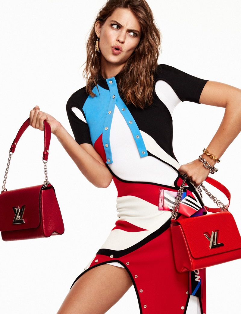 Showing off her moves, Lauren Auerbach wears Louis Vuitton dress with logo-embellished bags