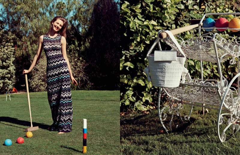 M Missoni Zigzag-Knit Metallic Maxi Dress (Left) Bucket Tie Flap-Top Crocodile Bag (Right)