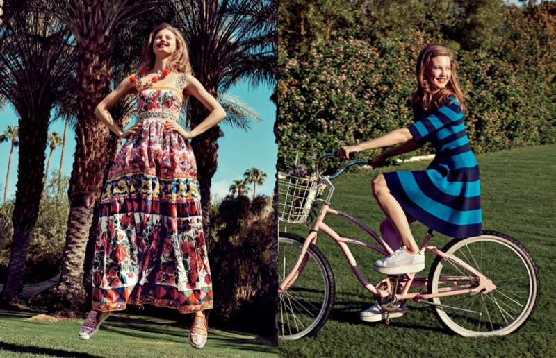 (Left) Dolce & Gabbana Embellished Long Peasant Gown and Carretto-Print Leather Skate Sneaker (Right) Akris Punto Striped Half-Sleeve Milano-Knit Dress