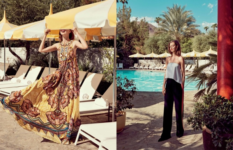 (Left) Roberto Cavalli Printed Flutter-Sleeve Ruffle-Bib Gown (Right) Diane Von Furstenberg Top and Pants