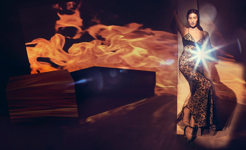 Liu Wen poses in La Perla Autografo silk long dress
