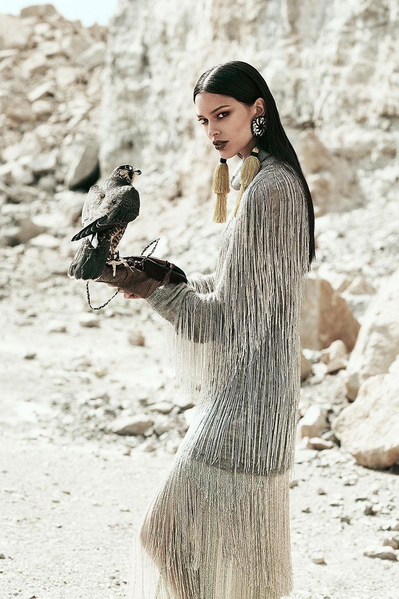 Lizzy Salt models Valentino  fringe adorned top and skirt