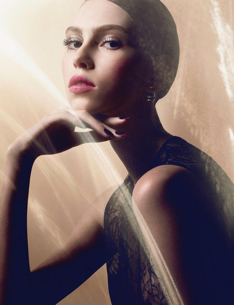 lorena maraschi shines in winter makeup looks for dior magazine