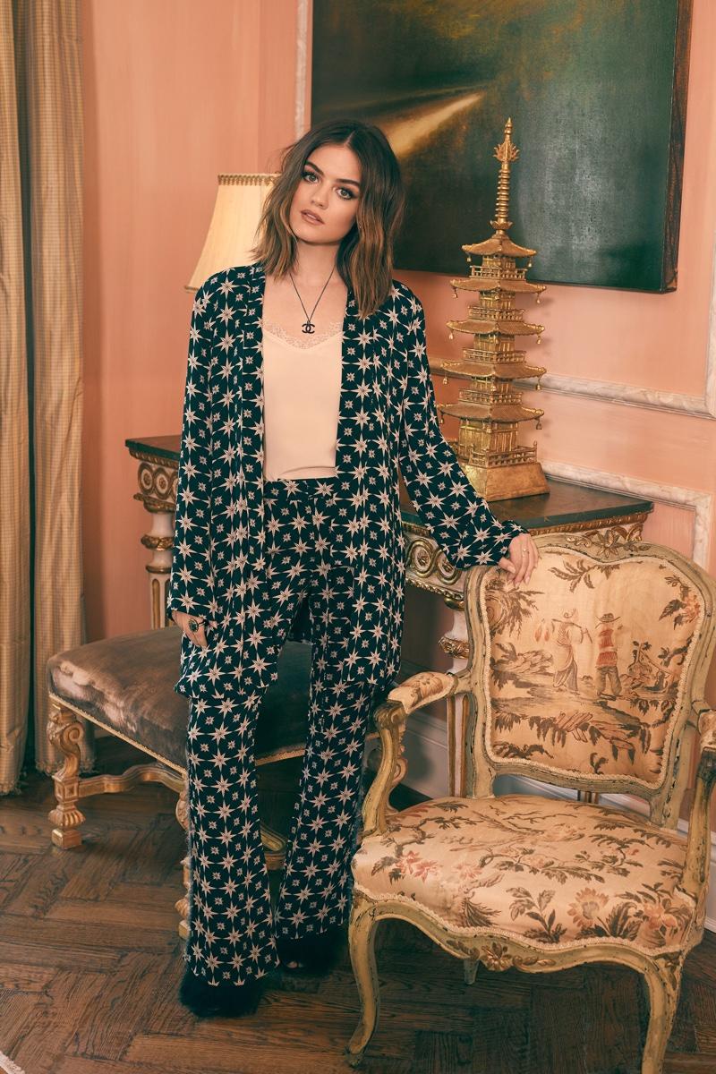 Embracing pajama dressing, Lucy Hale wears Figure Akila kimono jacket and Gregorie pants