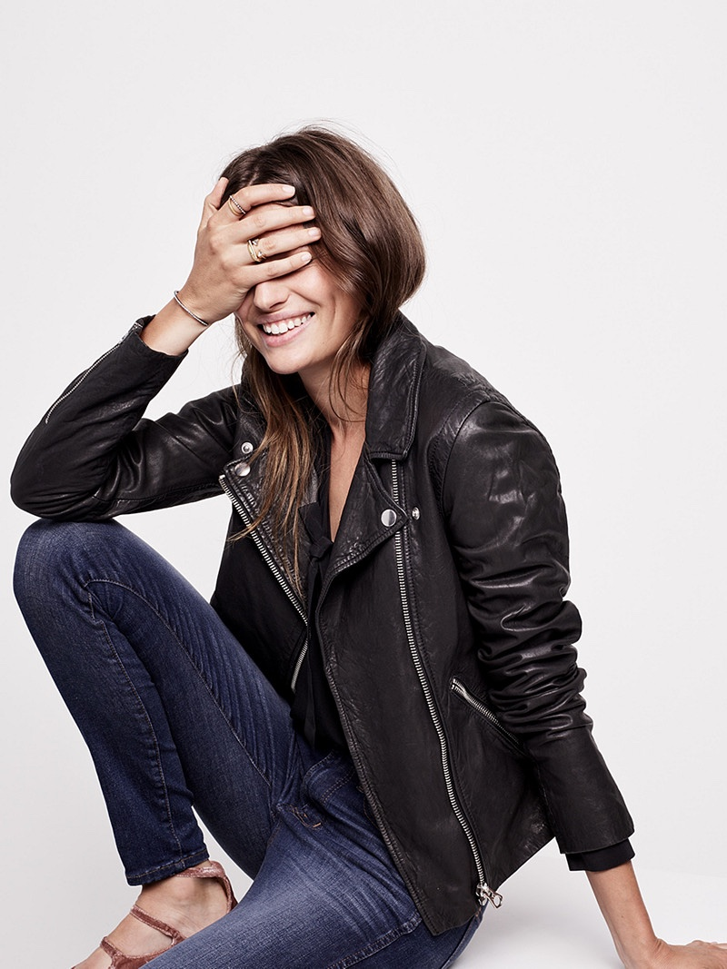 "Madewell Washed Leather Motorcycle Jacket, Silk Tie-Neck Shirt, 9"" High-Rise Skinny Jeans in Polly Wash and Pavé Cuff Bracelet Set"