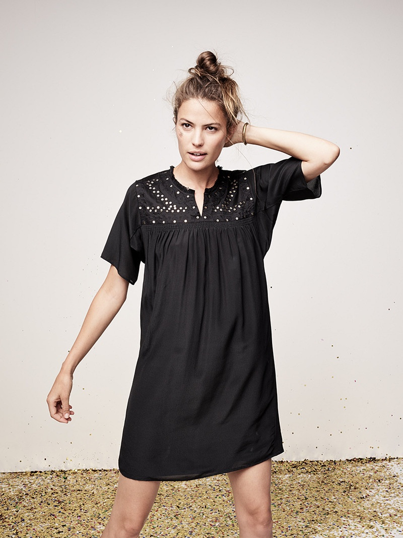 Madewell Embroidered Nightbell Dress and Rivet & Thread Cuff Bracelet