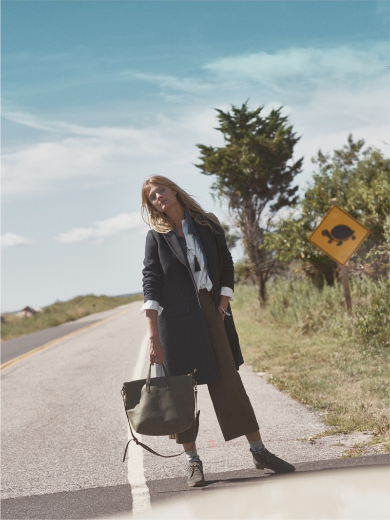 Madewell Teatro Swing Coat, Wide-Leg Crop Pants, Transport Satchel and Nash Lace-up Boot