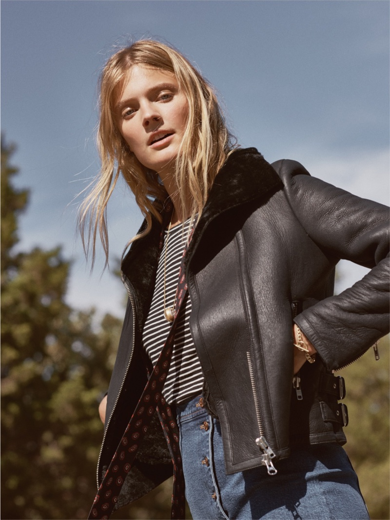 Madewell Shearling Motorcycle Jacket, Whisper Cotton Long-Sleeve Tee and Asymmetrical Jean Skirt