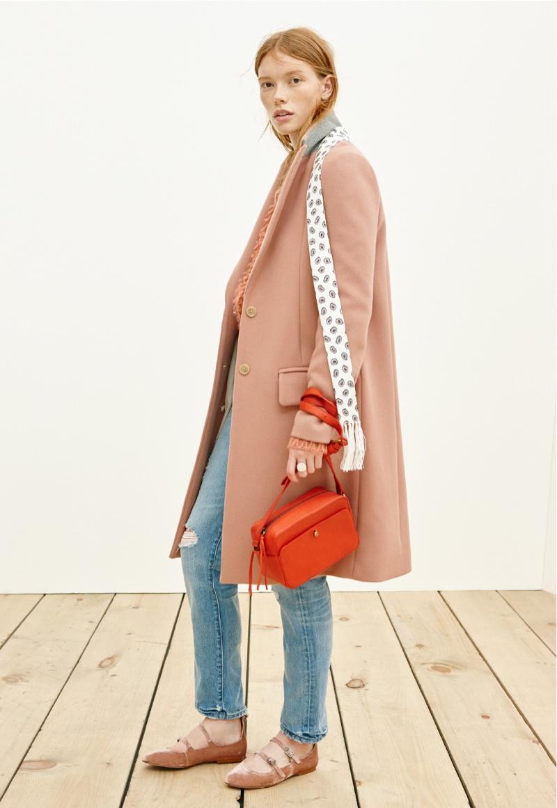 Madewell Teatro Swing Coat, Perfect Vintage Jean, Manchester Crossbody Bag, Velvet Julie Flat and Silk Skinny Scarf