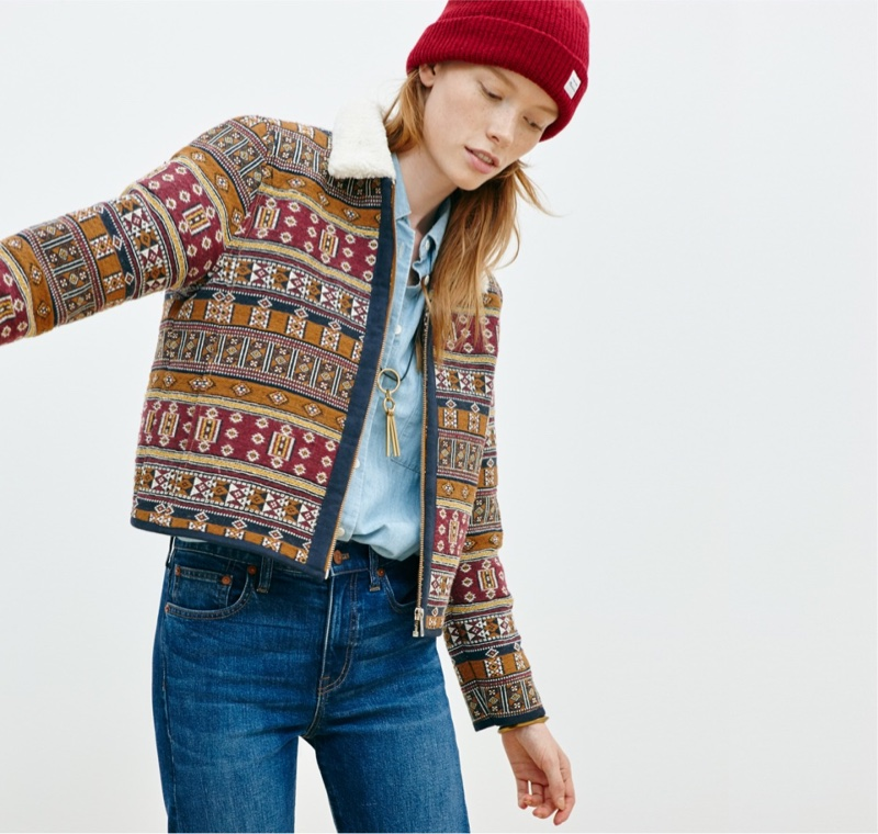Madewell Sherpa-Collar Jacquard Jacket, Chambray Courier Shirt, Perfect Vintage Jeans and Cozy-Knit Beanie