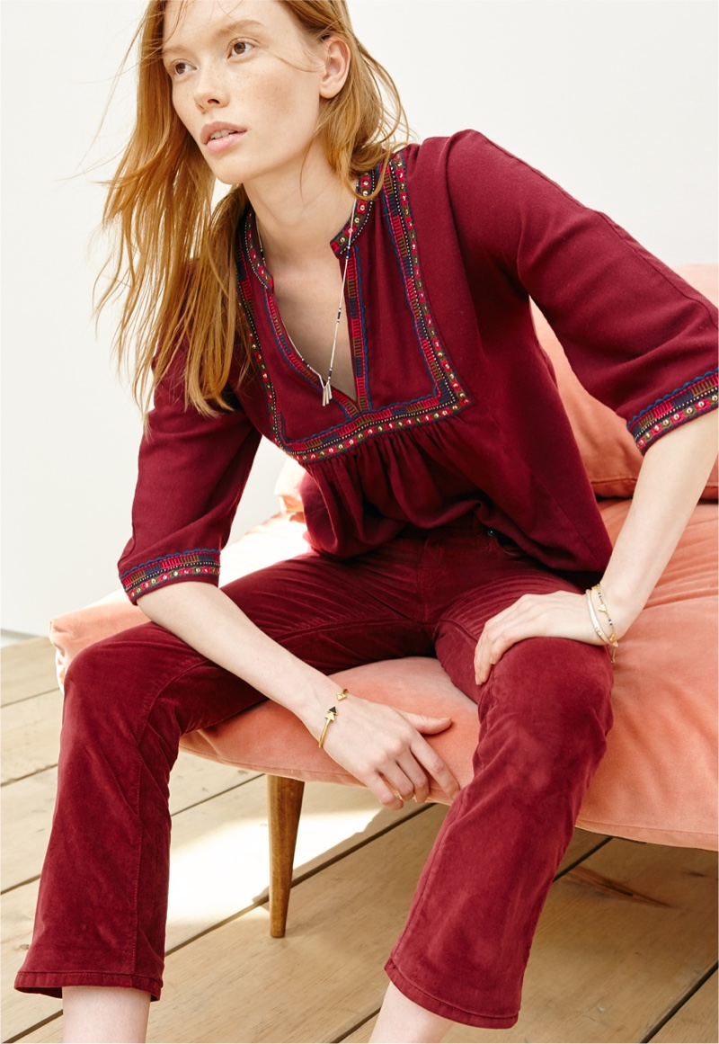 Madewell Embroidered Bohéme Popover Shirt and Cali-Demi Boot Jeans in Velvet