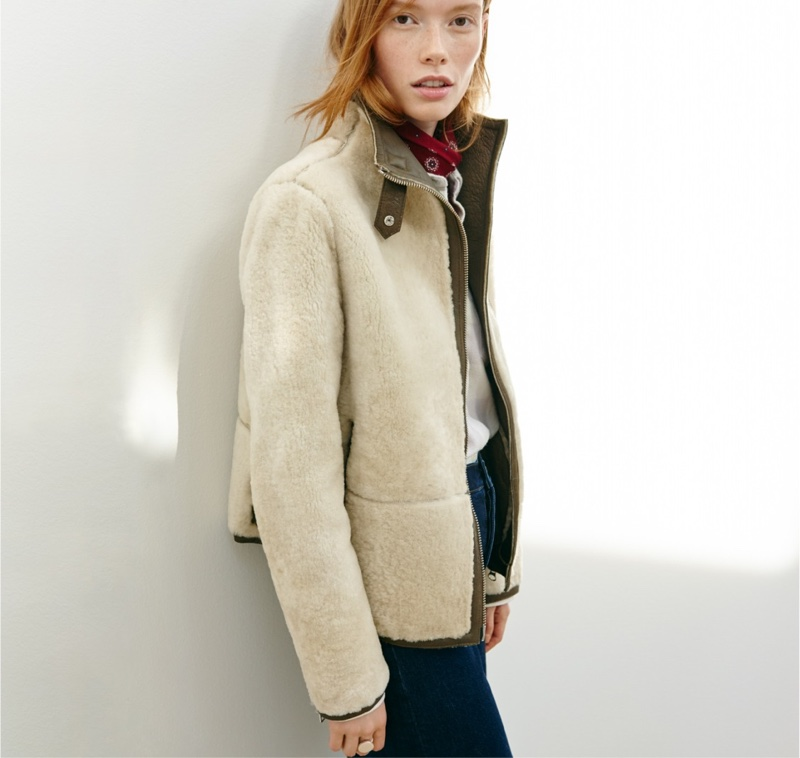 Madewell Plush Shearling Motorcycle Jacket and Wide-Leg Jeans