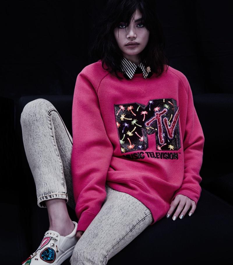 Marc Jacobs Embellished Wool-Blend Sweatshirt, Embellished Acid-Wash Jeans and Mercer Canvas Slip-On Sneakers